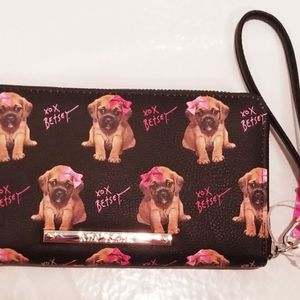BETSEY JOHNSON Puppies Black Wallet Wristlet NEW